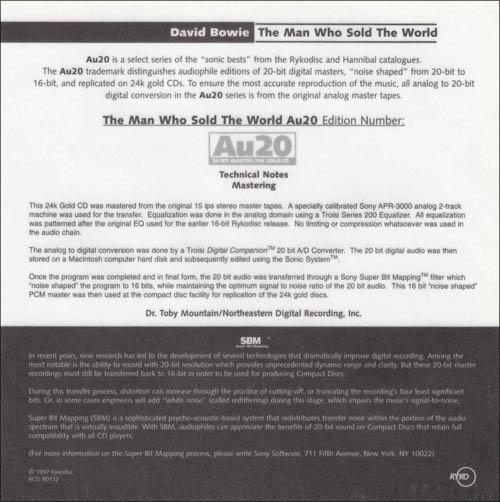 Image for The Man Who Sold the World AU20 RYKO Gold CD Limited w/ Numbered Certificate 2264