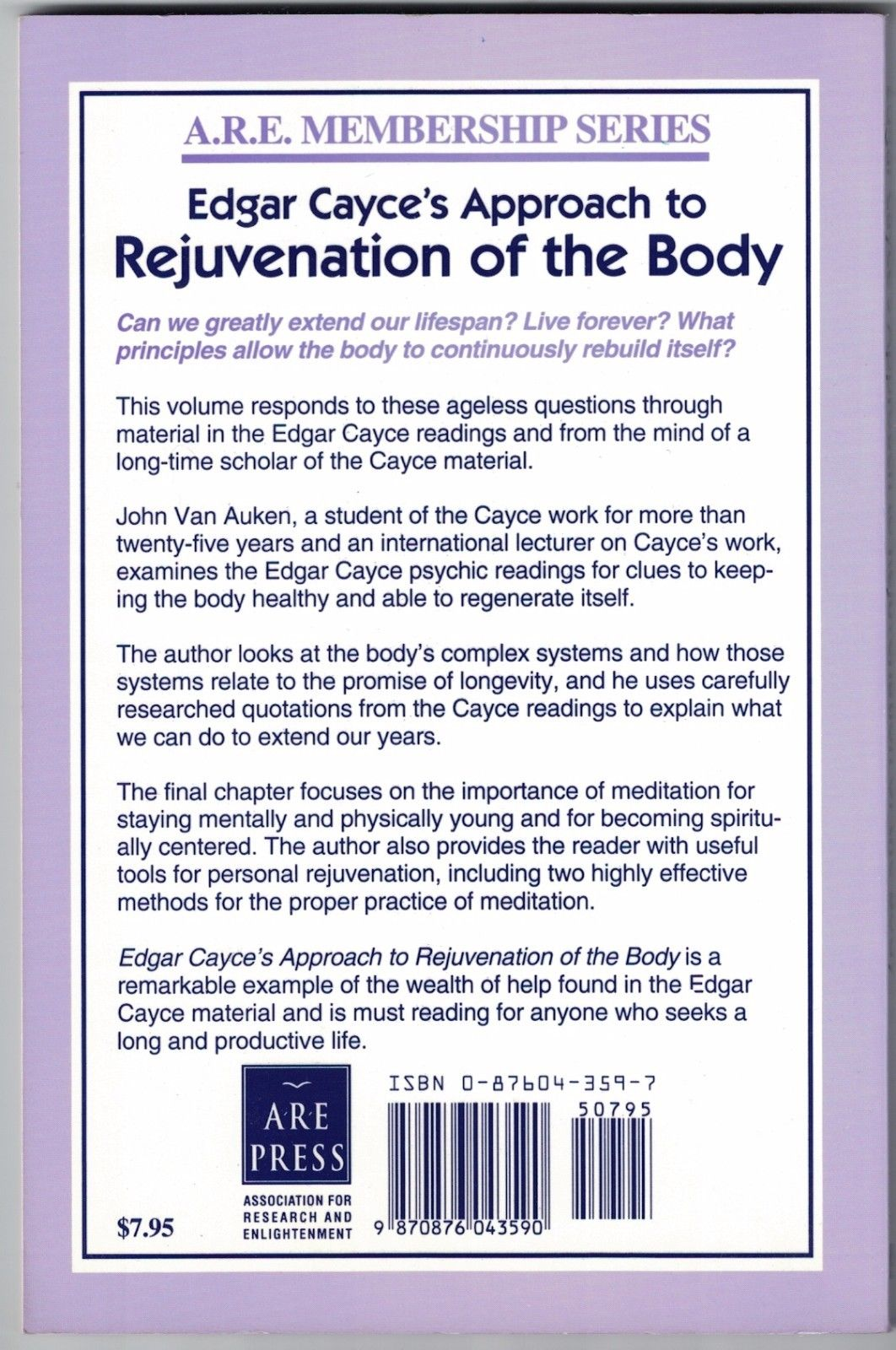 Image for Edgar Cayce on Rejuvenation of the Body