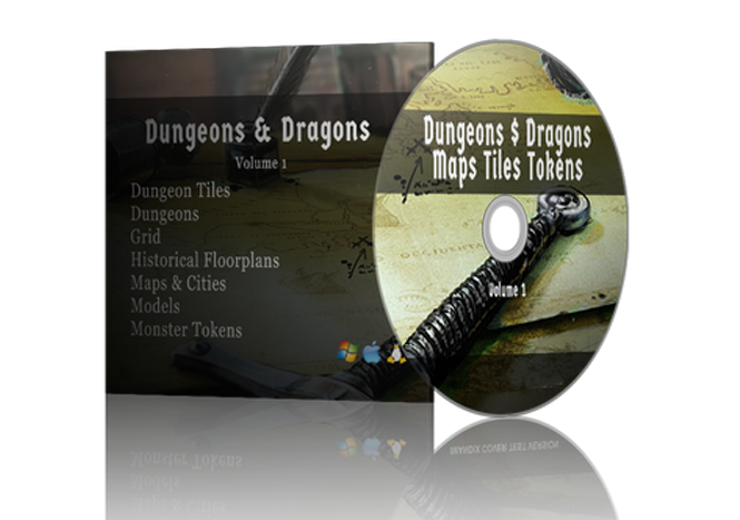 Image for Dungeons and Dragons Maps Dungeons Tiles Tokens, / D&D, / RPG, / Dungeon Master, / Maps, / Dungeons, / Dungeons Tiles, / Monster Tokens, / Books on DVD / With Jacket. Volume 1