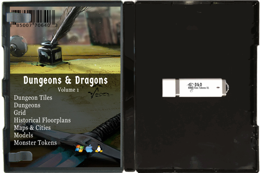 Image for Dungeons And Dragons, Maps, Tiles and Tokens Collection. / D&D, / RPG, / Dungeon Master, / Maps, / Dungeons, / Dungeons Tiles, / Monster Tokens, / Books on USB Flash Drive / With DVD Case. Volume 1