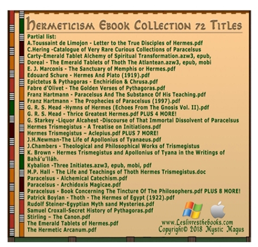 Hermeticism, Hermetics, Occult, Ebook Set, Collection on CD Media  72  Titles  Emerald Tablets of Thoth Atlantean  Hermes, Alchemy, Magick,  Occult,