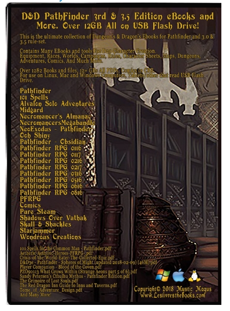 Pathfinder, Dungeons and Dragons, D&D, EBook Collection: 3rd and 3 5  editions Set 1282 files  Adventure, Modules, Equipment, Races, Worlds,  Campaigns,